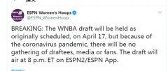 2020年WNBA选秀大会将于当地时间4月17日举行